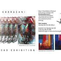 Full Speed Ahead postcard (front & back), Church Street Gallery - Texas by Hooshang Khorasani