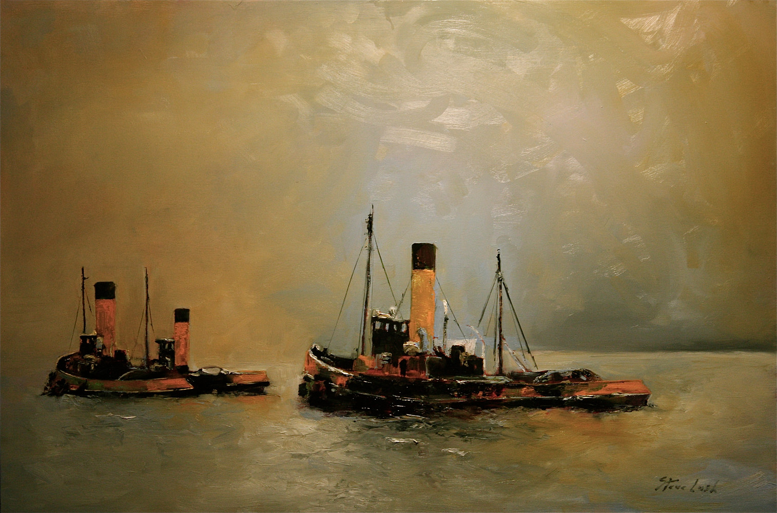 Oil painting The Tug Fleet by Nella Lush