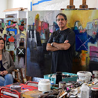 Celia and I in my studio Jan 2017 by Allen  Wittert