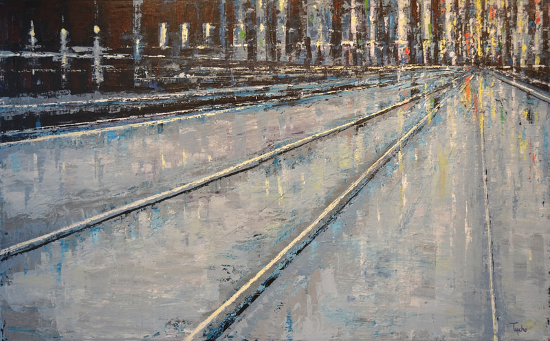 Acrylic painting Blue Terminus by David Tycho