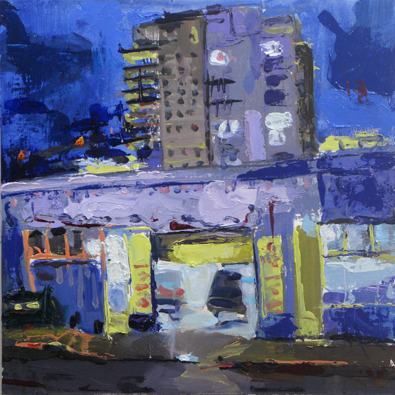 Oil painting Night Garage by William Sharp