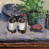 Oil painting Blue Bowl and Bottles by William Sharp