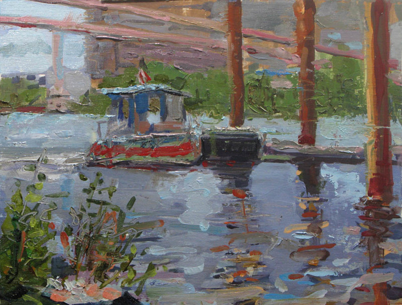 Oil painting Portland River Rescue Boat  by William Sharp