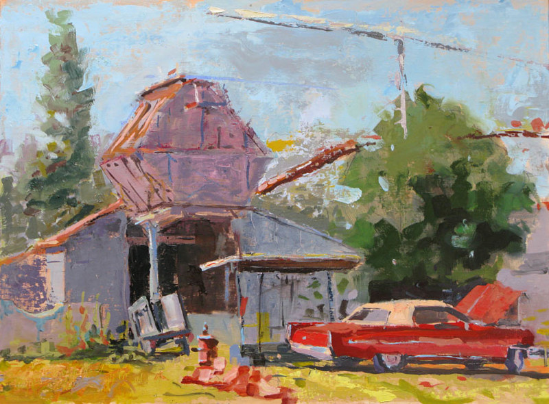 Oil painting Red Caddie at Linton Plywood - SOLD by William Sharp