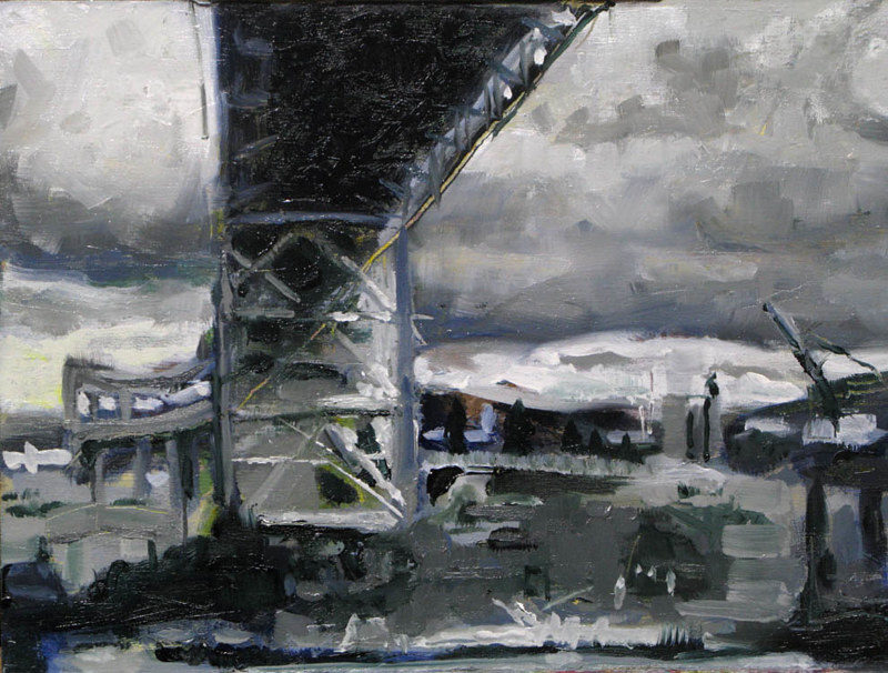 Oil painting Under the Fremont Bridge  - SOLD by William Sharp