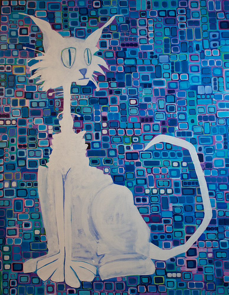 Acrylic painting Scruffy the Cat by Donna Howard