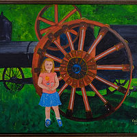 Acrylic painting Antique Steam Tractor and Little Girl-16x20 by Frans Geerlings