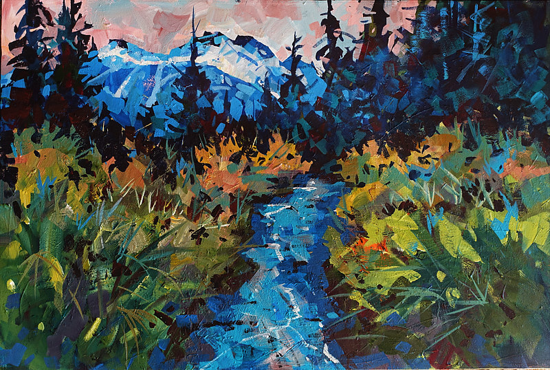 Valley Bottom Whistler   Acrylic 24x36x1.5 2017 by Brian  Buckrell