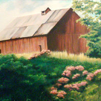Oil painting Yamhill Barn  by Jeanie Bates