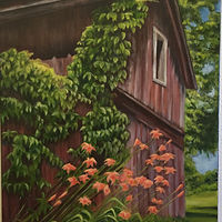 Oil painting Summer Barn  by Jeanie Bates