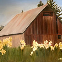 Oil painting Little Brown Barn  by Jeanie Bates
