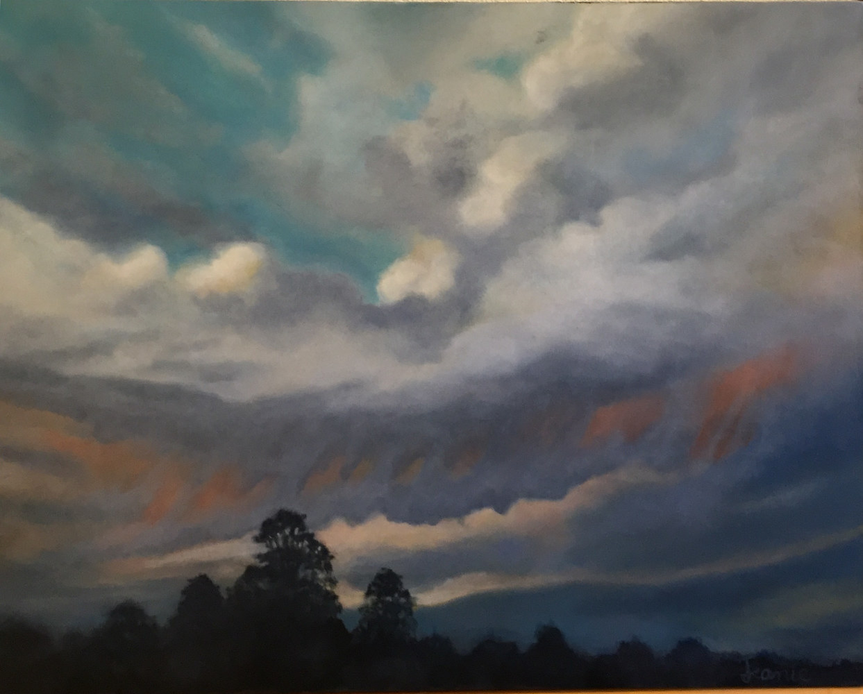 Oil painting Dusk by Jeanie Bates