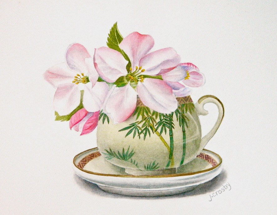 Watercolor Bamboo Teacup with Apple Blossoms by Jane Crosby
