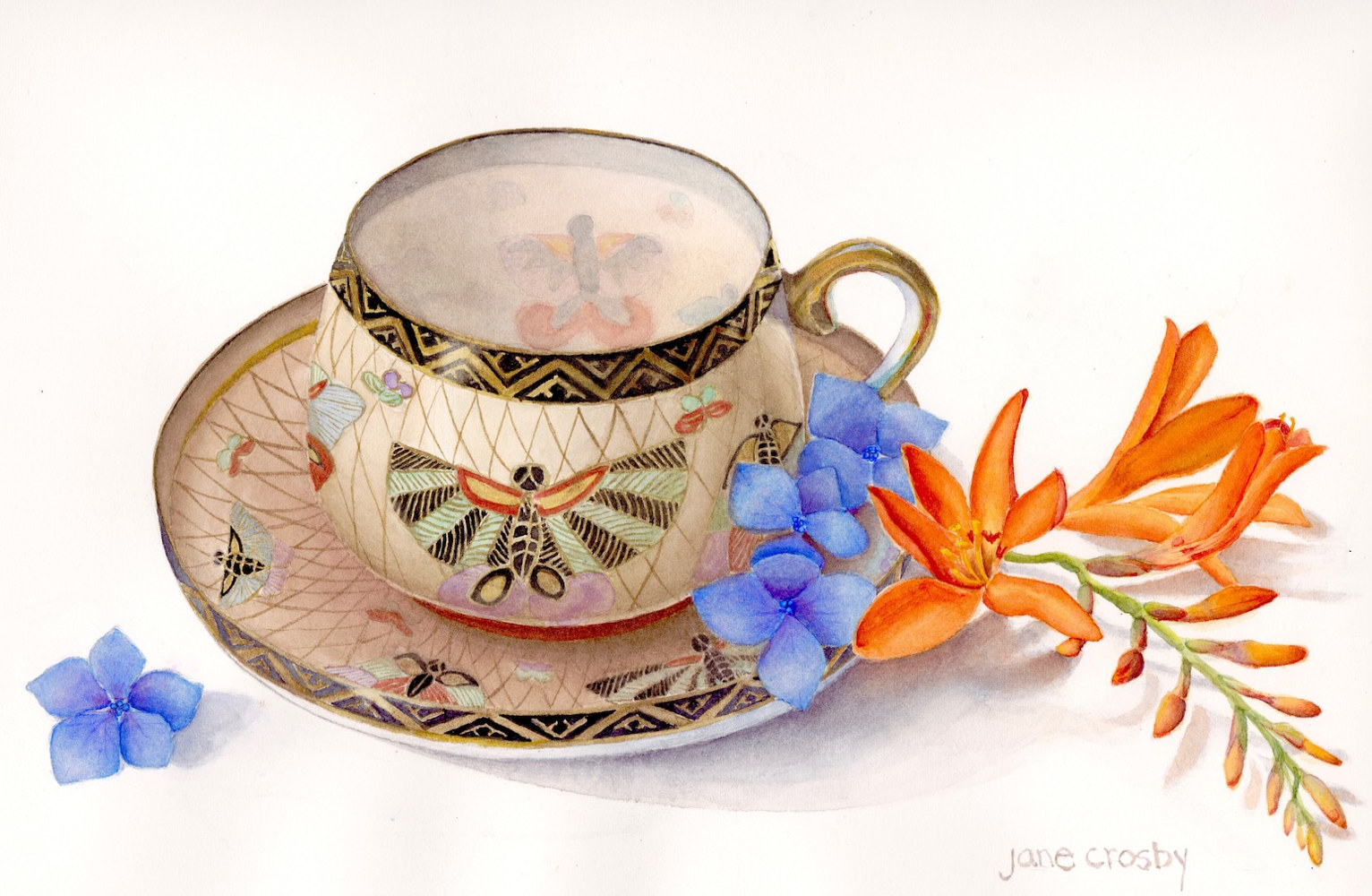 Watercolor Butterfly Teacup by Jane Crosby
