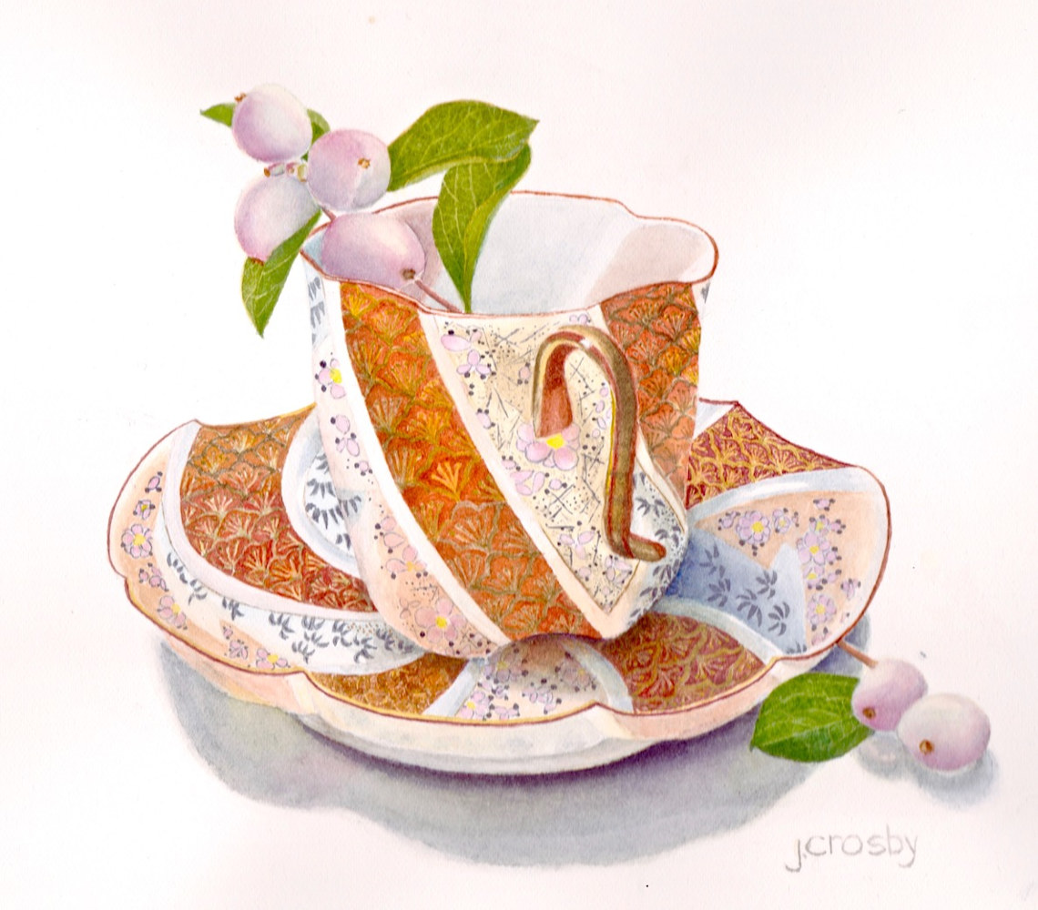 Watercolor Twisted Teacup by Jane Crosby
