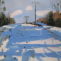 Acrylic painting Snow Shadows, Easement Hill by Harry Stooshinoff