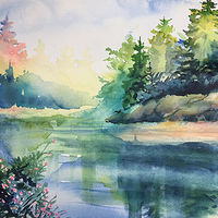 Watercolor Pine Tree Reflections by Betty Ann  Medeiros