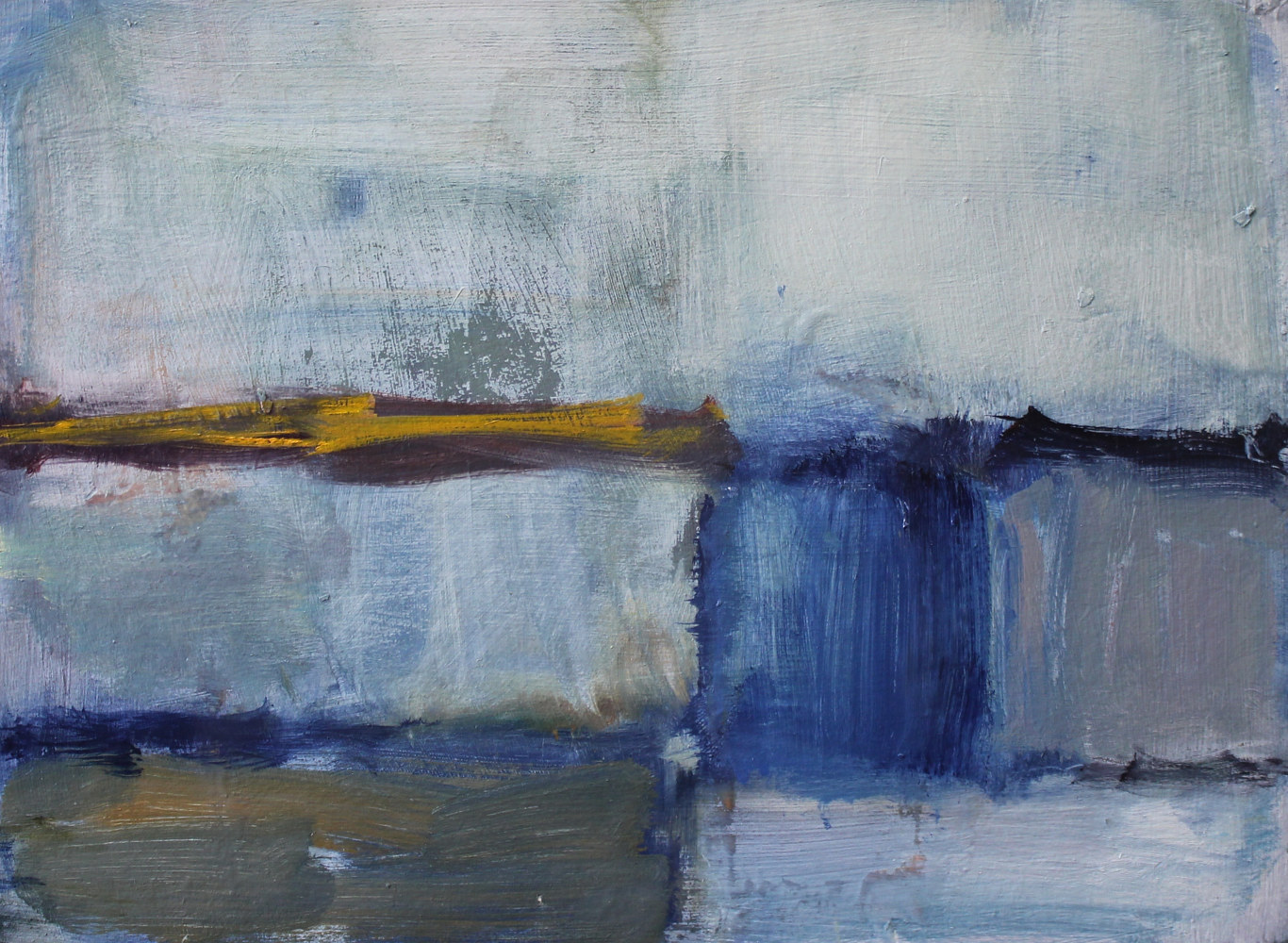 "Oil painting Abstract With Blue Square, oil on paper, 9"" x 12"" by Susan Horn"