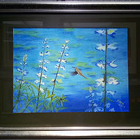 Drawing Humming Bird on pond with Lupine Framed by Frans Geerlings