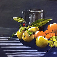 Oil painting Fruit in Shadows  by Jeanie Bates