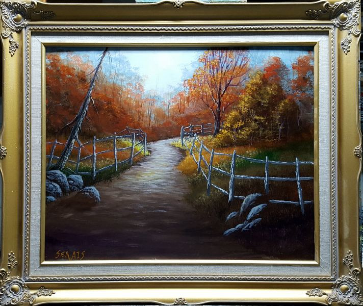 Acrylic painting Quiet Autumn Path by George Servais
