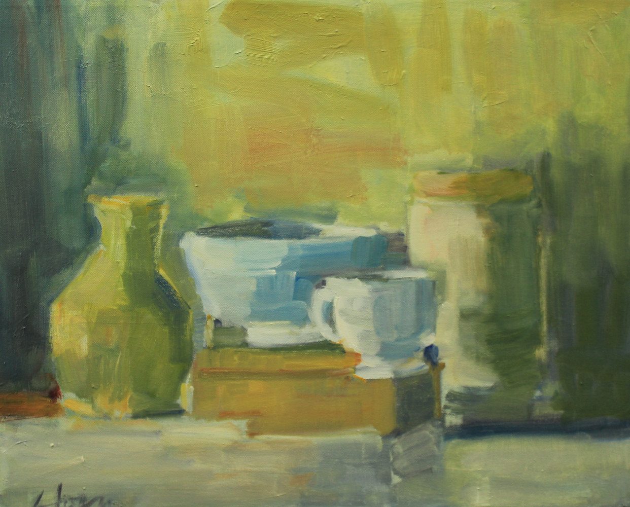 "Still Life with small white cup, oil on canvas, 16"" x 20"" by Susan Horn"
