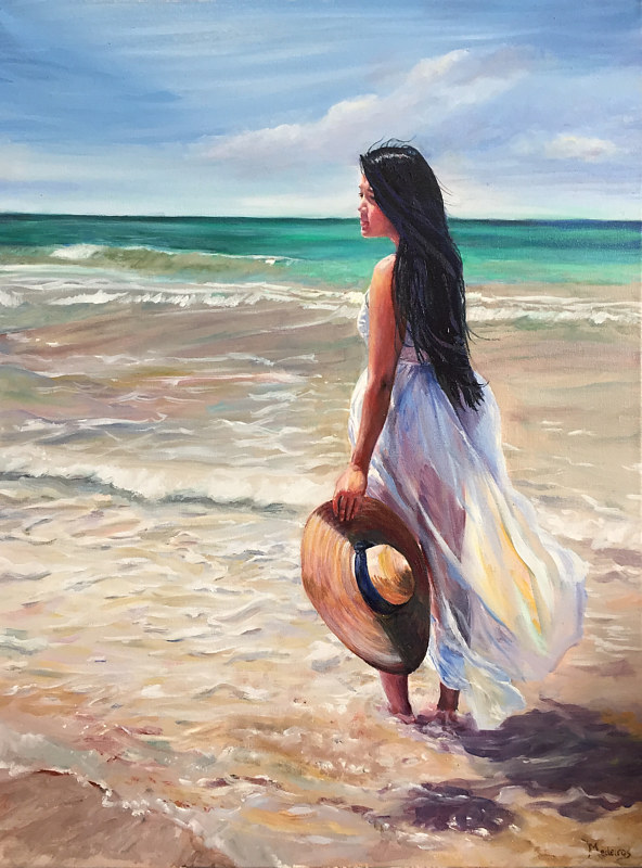 a walk on the beach betty ann medeiros oil and watercolor artist