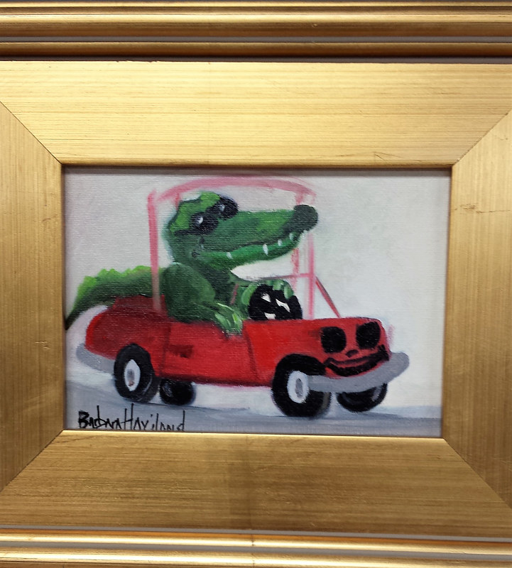 Oil painting  Gator Driving by Barbara Haviland