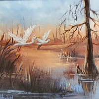 Oil painting  Sunlit Egrets Heading Home by Barbara Haviland