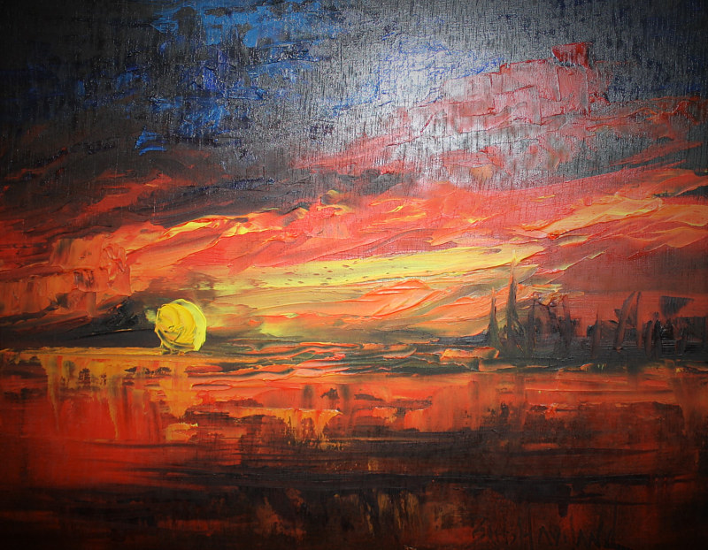 Oil painting Palette Knife Sunset by Barbara Haviland