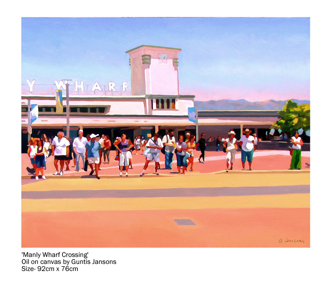 Oil painting Manly Wharf Crossing  by Guntis Jansons