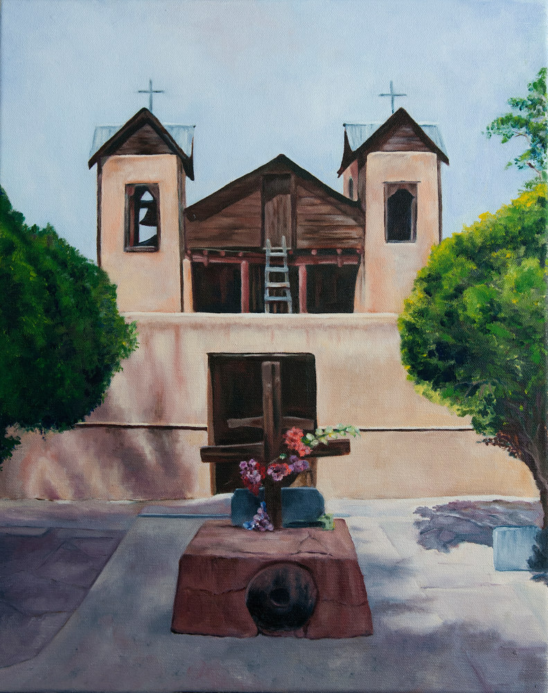 Oil painting Church at Chimayo by Kathleen Gross