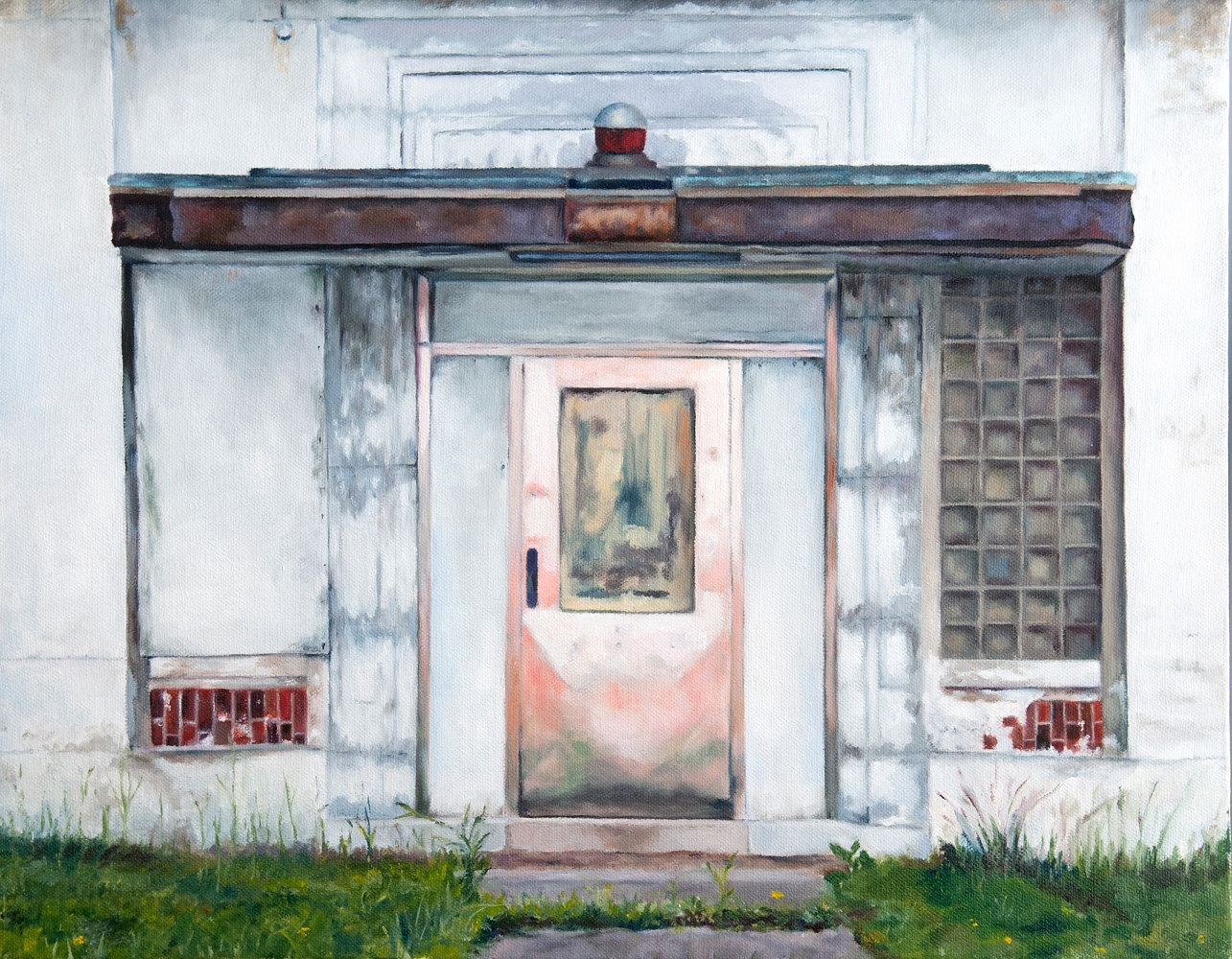 Oil painting Pink Door of the Old Packard Plant by Kathleen Gross