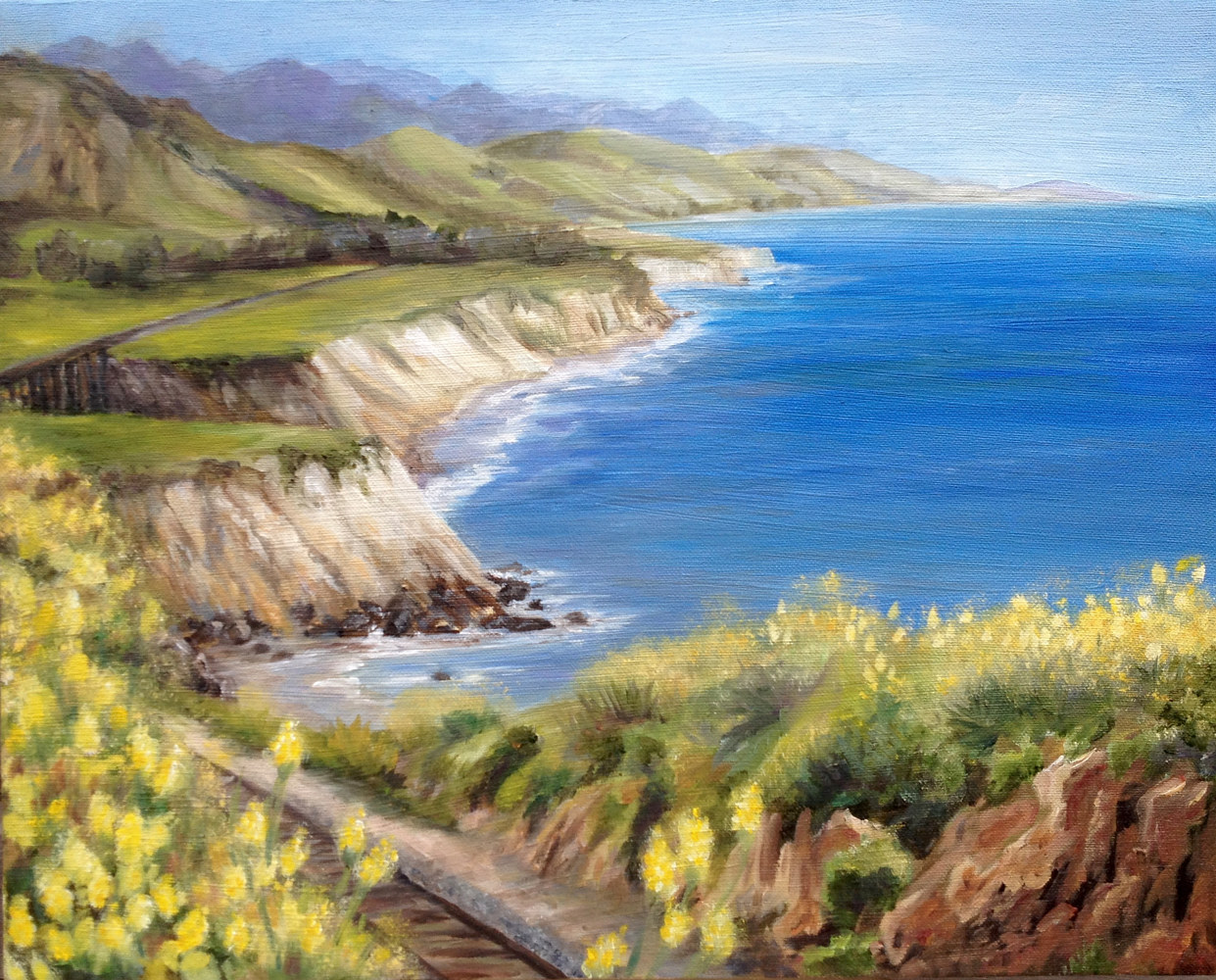 Oil painting Coastal Rail by Victoria Avila