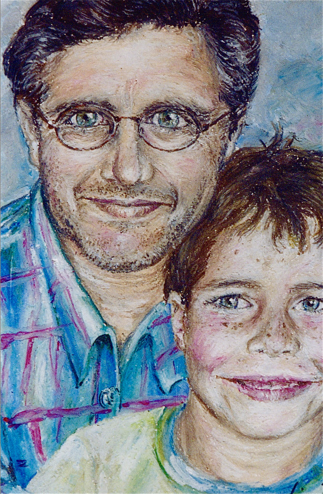Oil painting Ray and CT by Victoria Avila