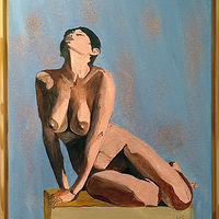Acrylic painting Satisfying Nude by Frans Geerlings