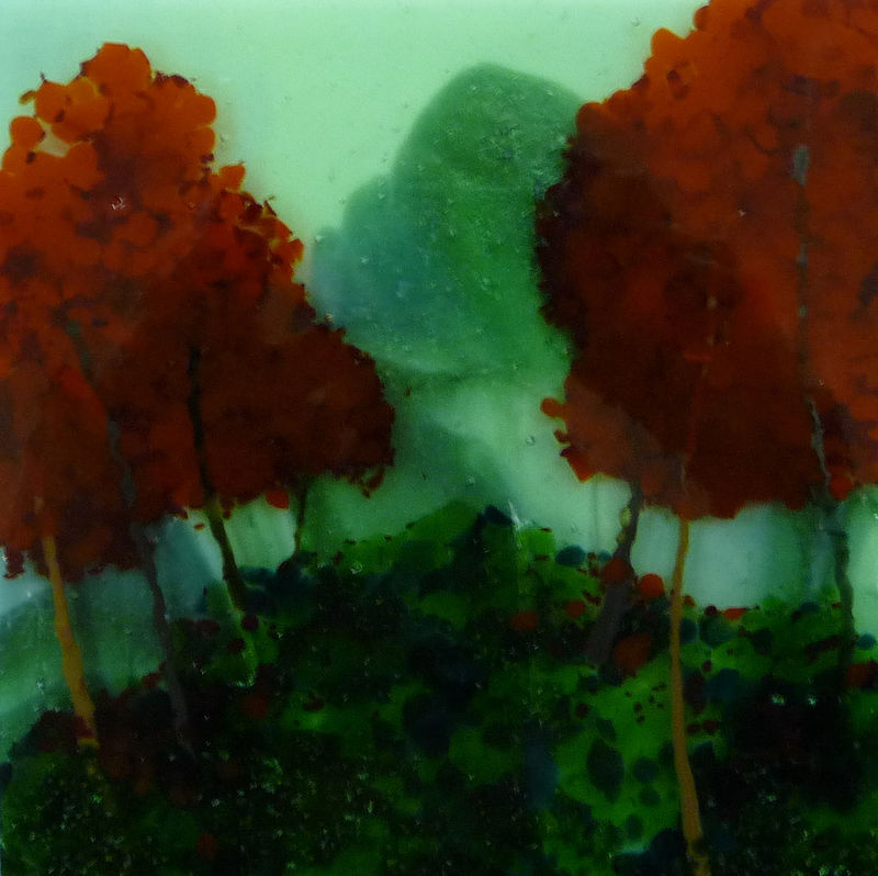 Fused Glass Red Trees by Claudia Whitten