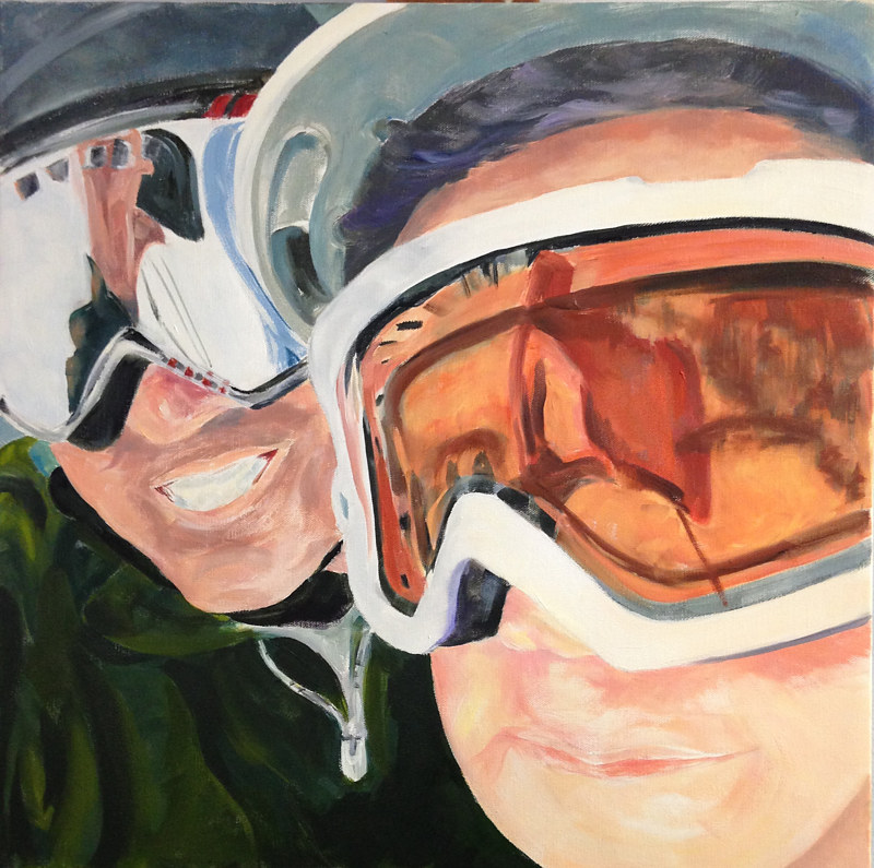 Oil painting Goggles Reflections by Barbara Naeser