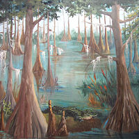 Oil painting Gator Bayou by Barbara Haviland