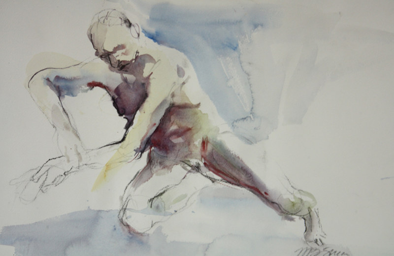 Watercolor an awkward position by Madeline Shea