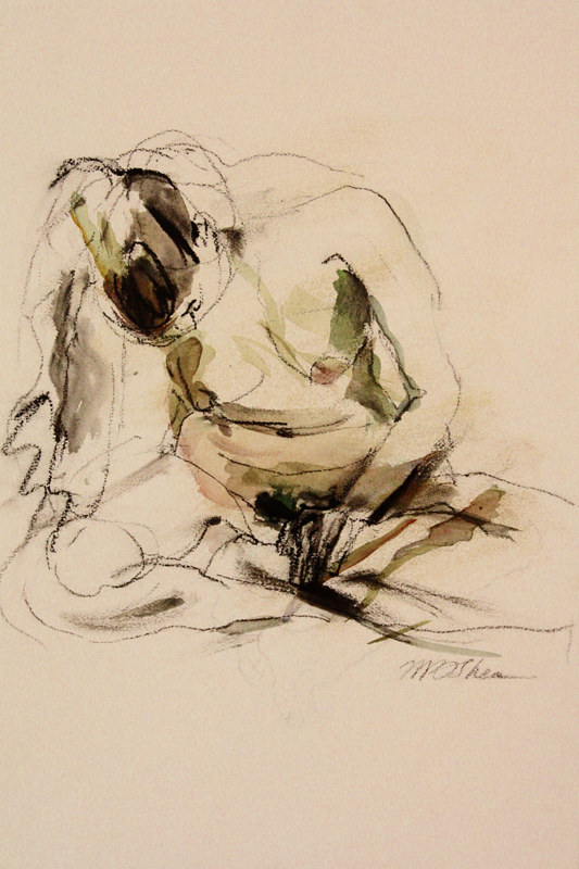 Watercolor nude in movement by Madeline Shea