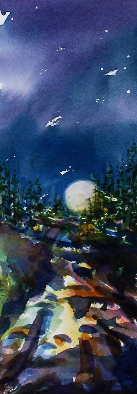 Watercolor Blue Moon by Wanda Hawse