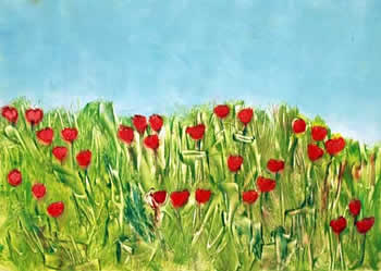 Amy Kaufman, Flower Field Red  by Amy Kaufman
