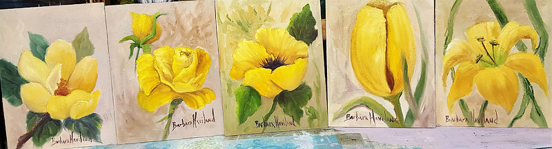 Painting 5 Yellow Flowers  by Barbara Haviland