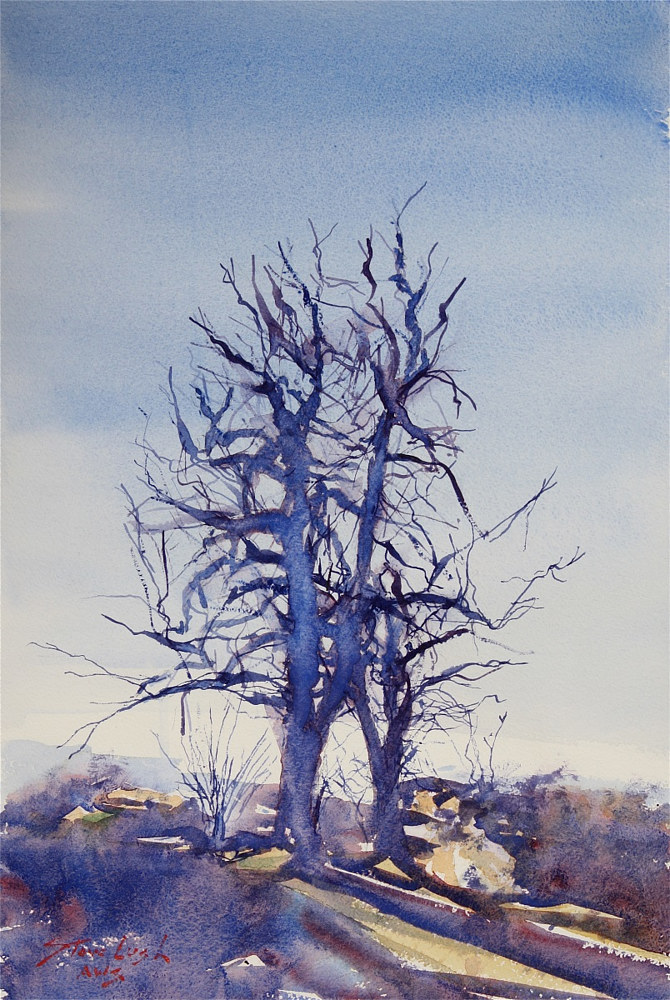 Watercolor Two Trees by Nella Lush