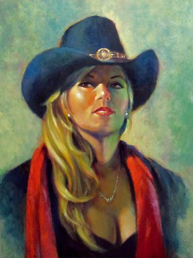 Oil painting Tuesday Out West by Kim Fujiwara