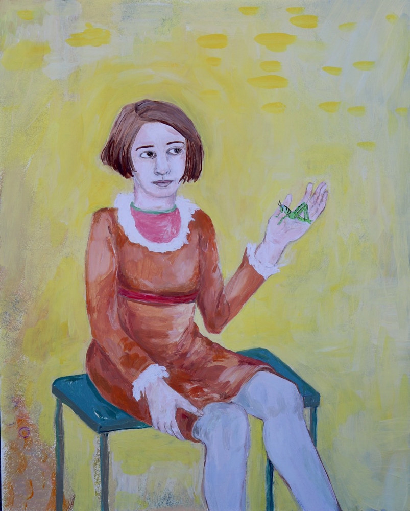 Oil painting a girl listening by Katherine Bennett