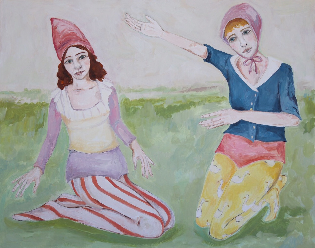 Oil painting girls telling stories by Katherine Bennett