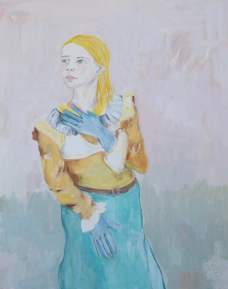 Oil painting a girl making plans by Katherine Bennett