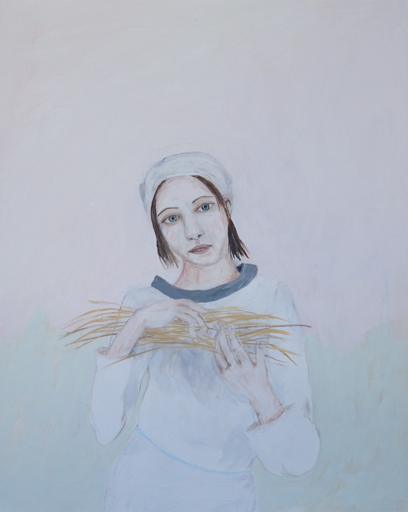 Oil painting  a girl gathering straw by Katherine Bennett